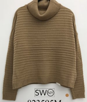 Horizontal Knitted Oversize Turtle neck Sweater