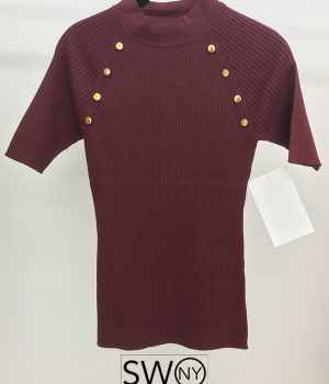 Elbow Sleeve Raglan Button Rib Sweater